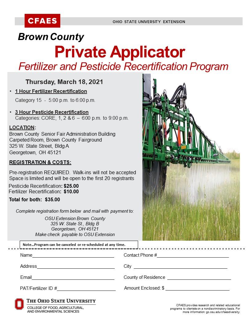 Private Applicator Fertilizer & Pesticide Re-certification Program
